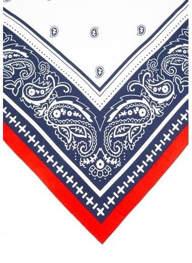 Mavi Desenl Kırmızı Bandana Kırmızı